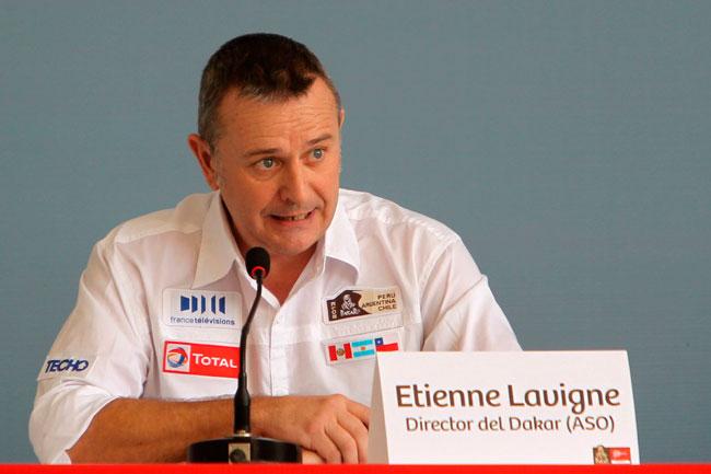 El director del Rally Dakar, Etienne Lavigne, en la presentación. Foto: EFE