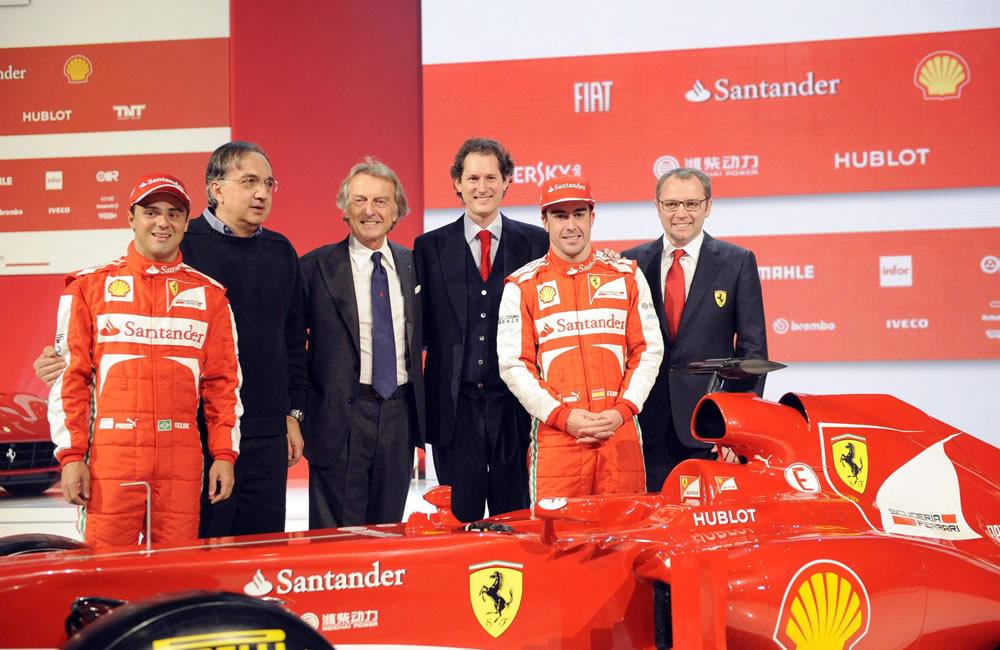 Pilotos y directivos de Ferrari. EFE