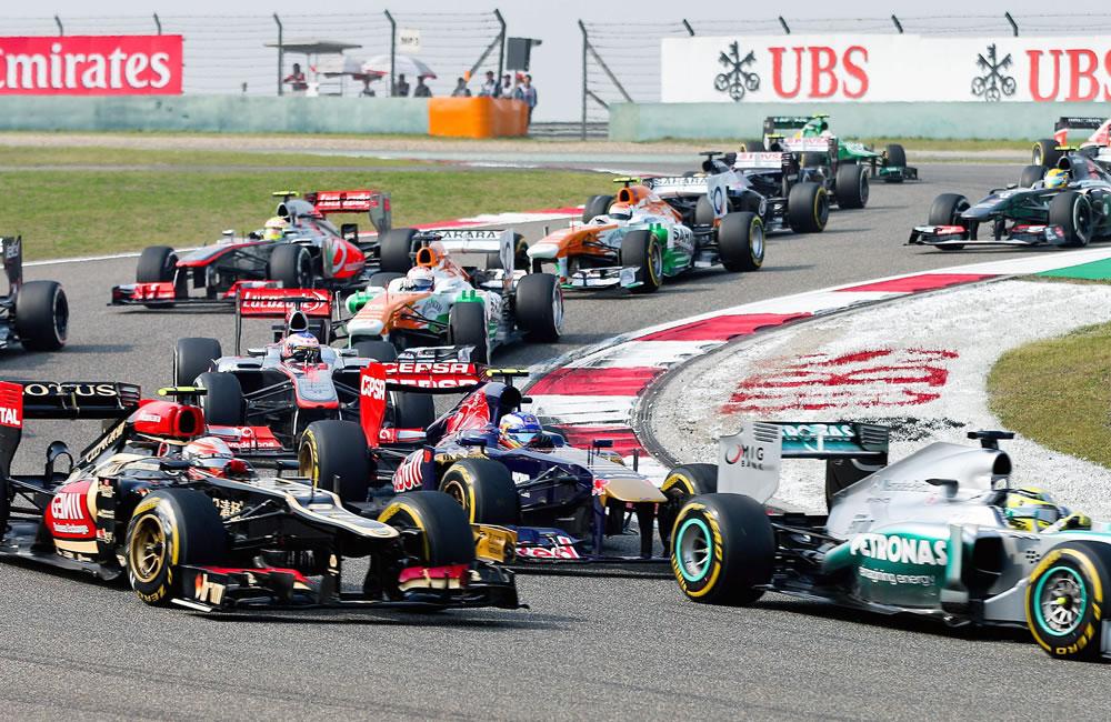 Los pilotos de Fórmula Uno durante el Gran Premio de China. EFE