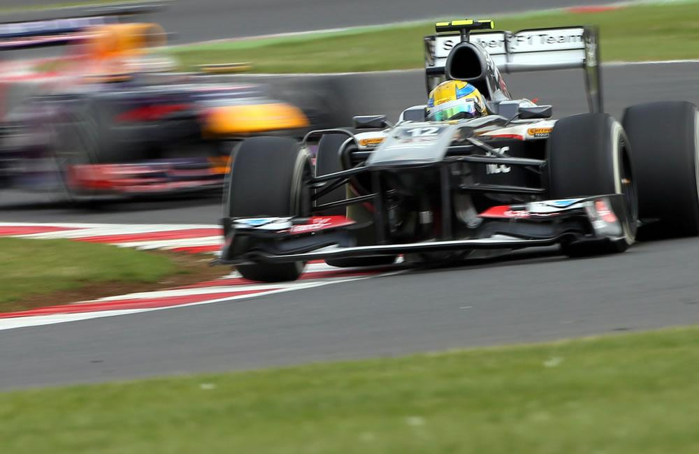 El piloto mexicano Esteban Gutierrez durante la clasificación del Gran Premio de Gran Bretaña. EFE