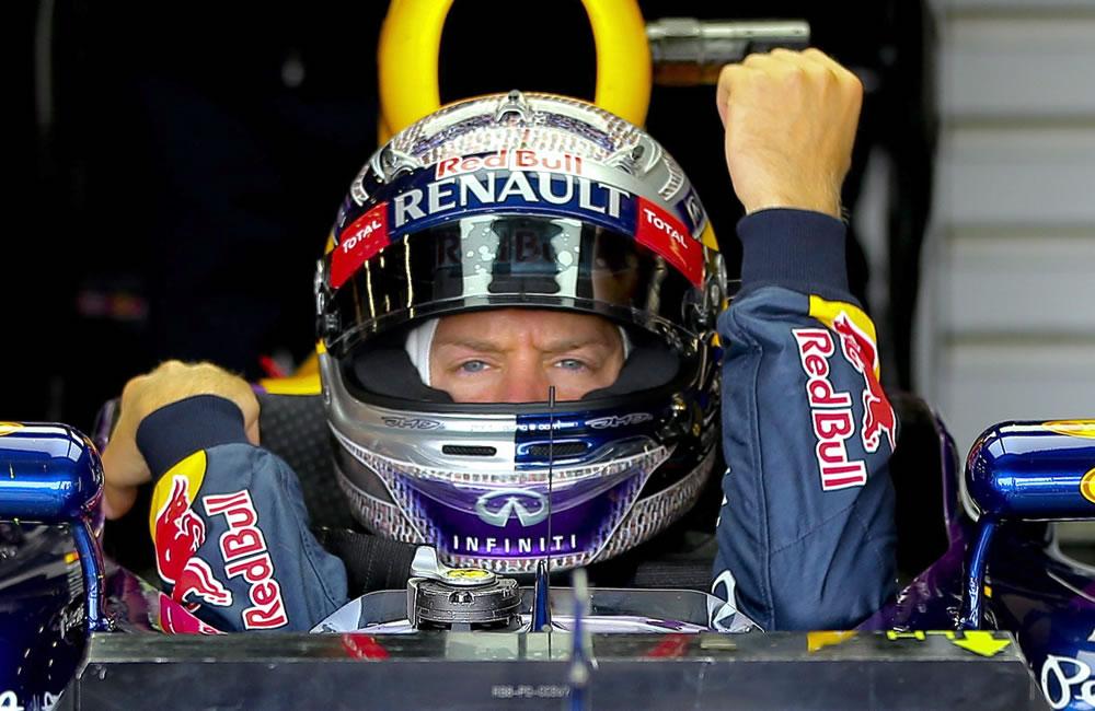 El piloto alemán Sebastián Vettel durante la clasificación del Gran Premio de Gran Bretaña. EFE
