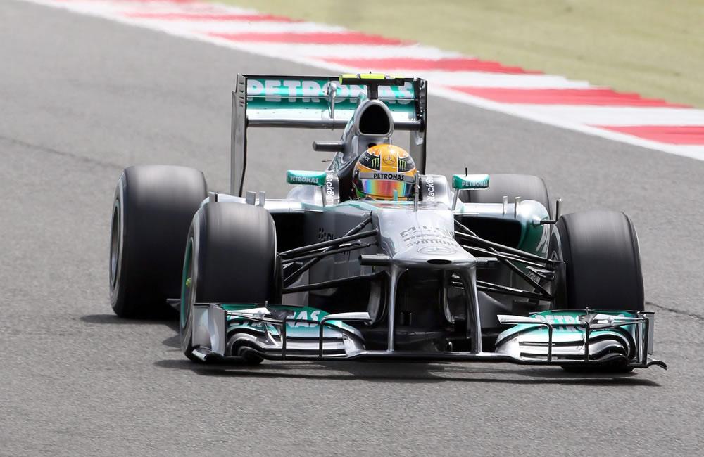 El piloto británico Lewis Hamilton durante la clasificación del Gran Premio de Gran Bretaña. EFE