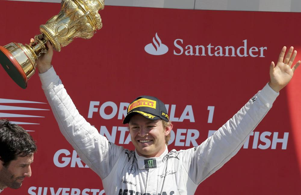 El piloto alemán Nico Rosberg ganador del Gran Premio de Gran Bretaña. EFE