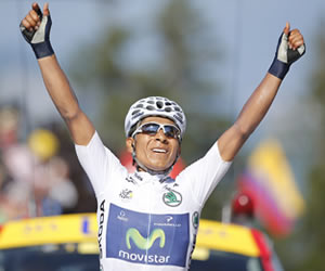 El ciclista colombiano del equipo Movistar, Nairo Quintana. EFE