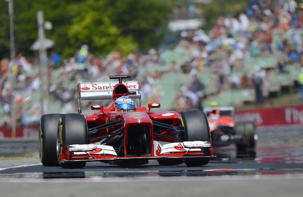El piloto español Fernando Alonso durante la clasificación del Gran Premio de Hungría. EFE