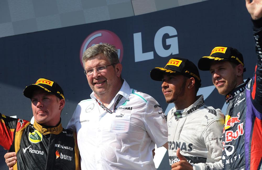 Celebración en el podio después del Gran Premio de Hungría. Foto: EFE