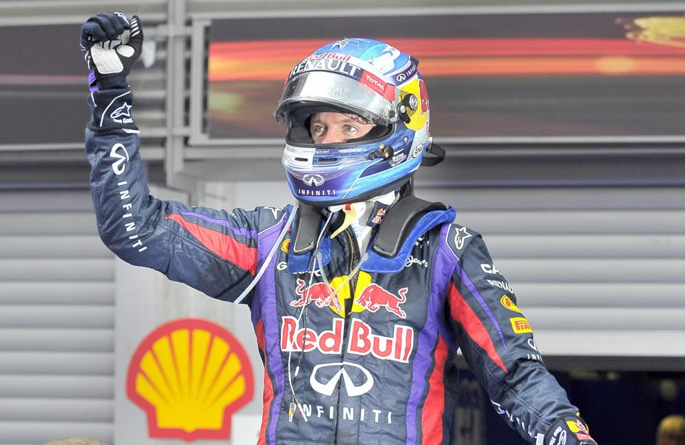 El piloto alemán Sebastián Vettel ganador del Gran Premio de Bélgica. EFE