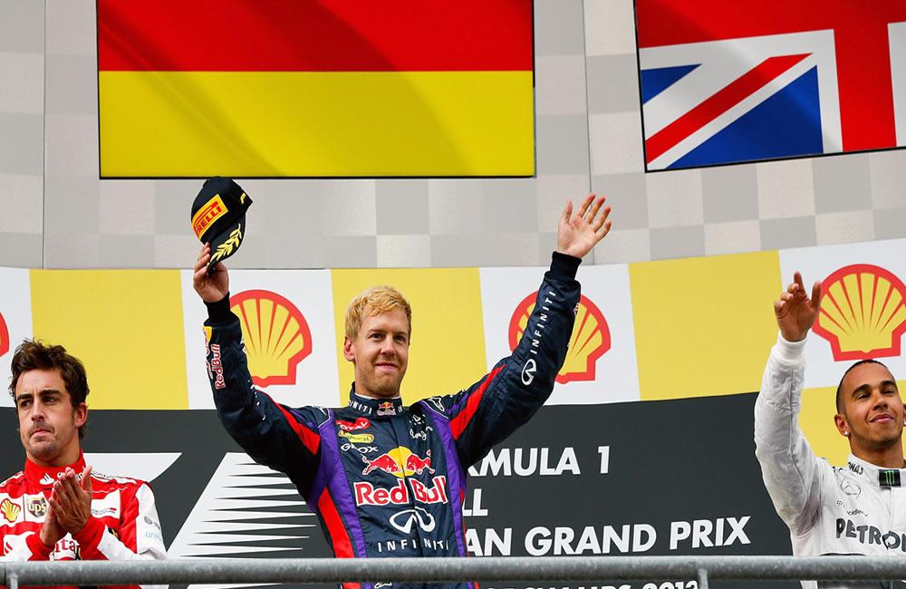 El podio de celebración del Gran Premio de Bélgica. EFE