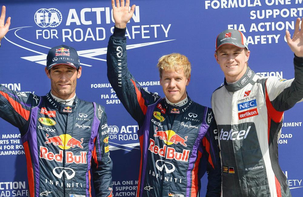 El podio de clasificación del Gran Premio de Italia. EFE