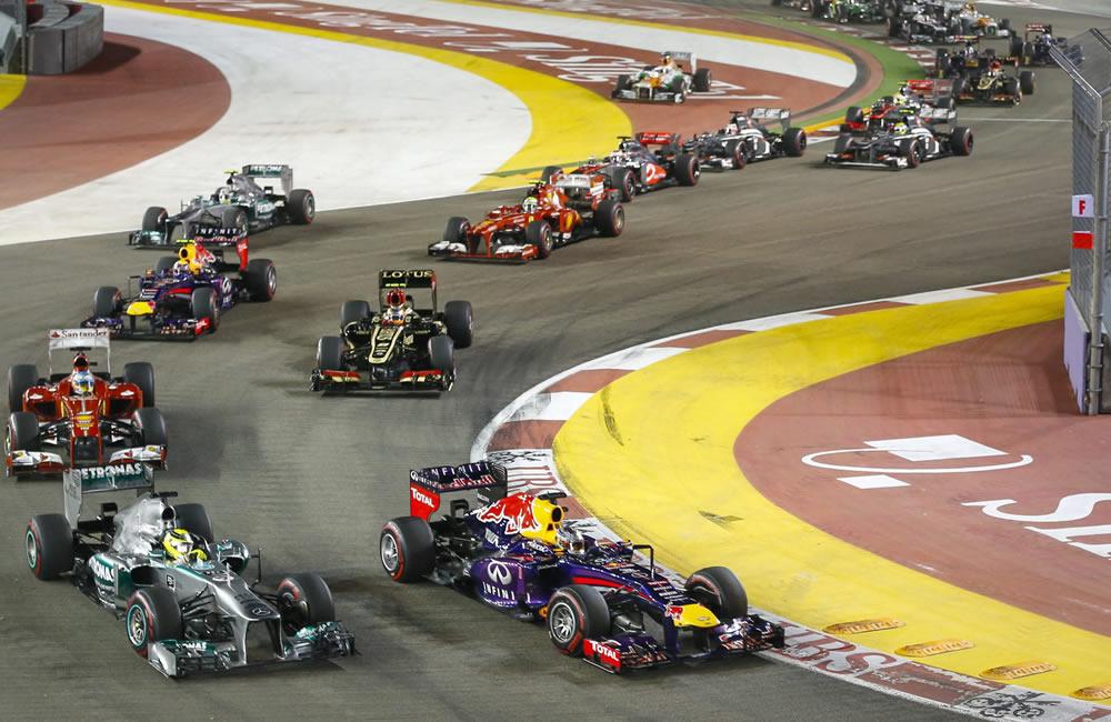 Los pilotos de fórmula 1 durante el Gran Premio de Singapore. EFE