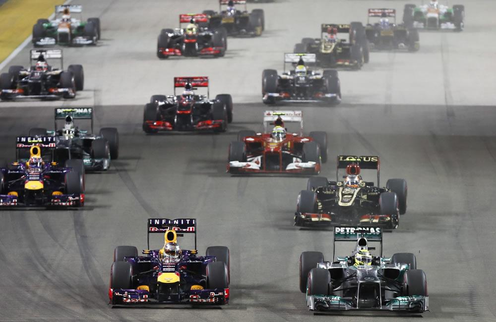 Grilla de partida del Gran Premio de Singapore. EFE