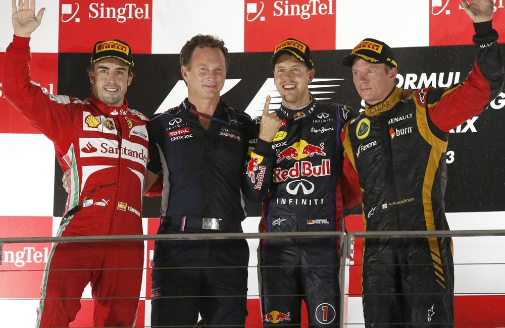 Celebración del podio del Gran Premio de Singapore. EFE