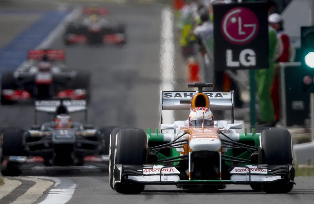 El piloto británico Lewis Hamilton durante la clasificación del Gran Premio de Corea. EFE