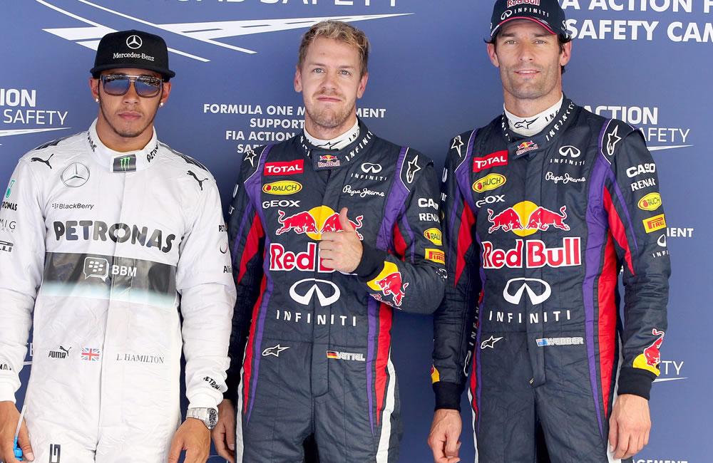 El podio de la pre clasificación del Gran Premio de Corea. EFE
