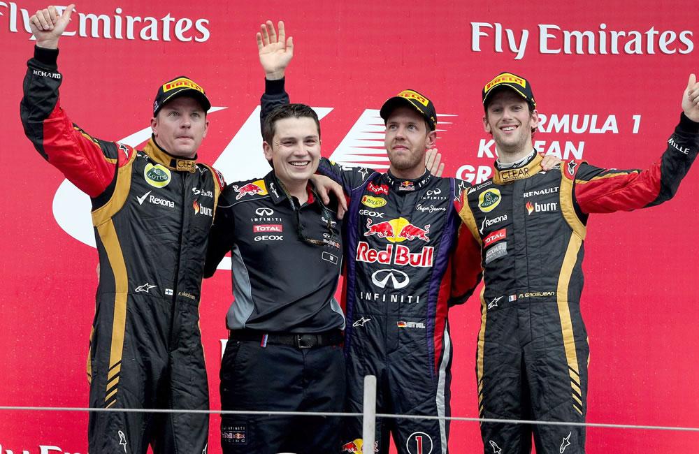 Celebración en el podio del Gran Premio de Corea. EFE