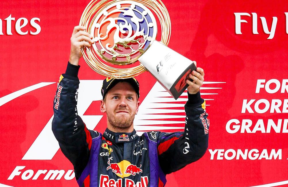 El piloto alemán Sebastián Vettel se coronó campeón del Gran Premio de Corea. EFE