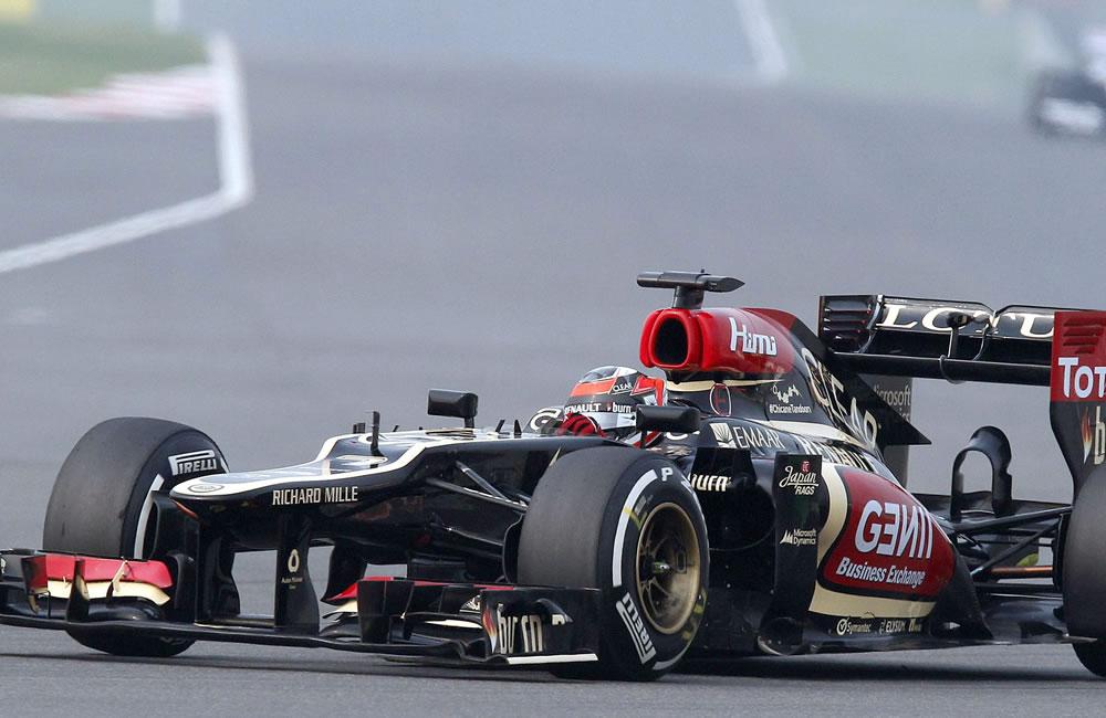 El piloto finlandés Kimmi Raikkonen durante la clasificación del Gran Premio de la India. EFE