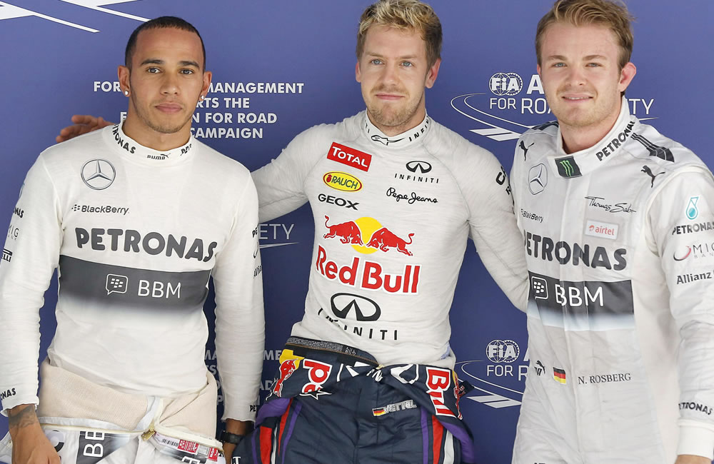 El podio de la clasificación del Gran Premio de la India. EFE