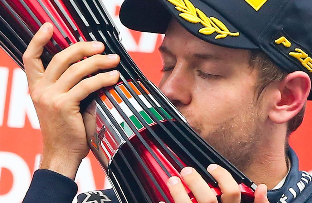 El piloto alemán Sebastián Vettel se coronó campeón del Gran Premio de la India. EFE