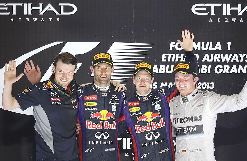 Celebración del Podio del Gran Premio de Abu Dabi. EFE