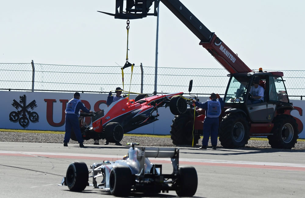 El piloto británico Max Chilton's durante la clasificación del Gran Premio de Estados Unidos. EFE