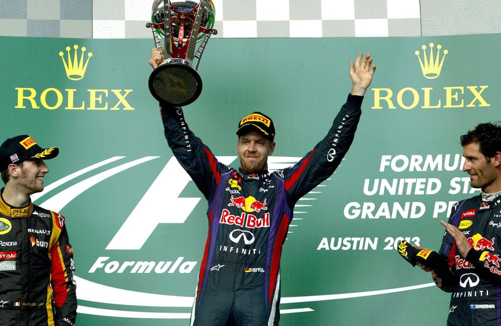 Celebración del podio del Gran Premio de los Estados Unidos. EFE