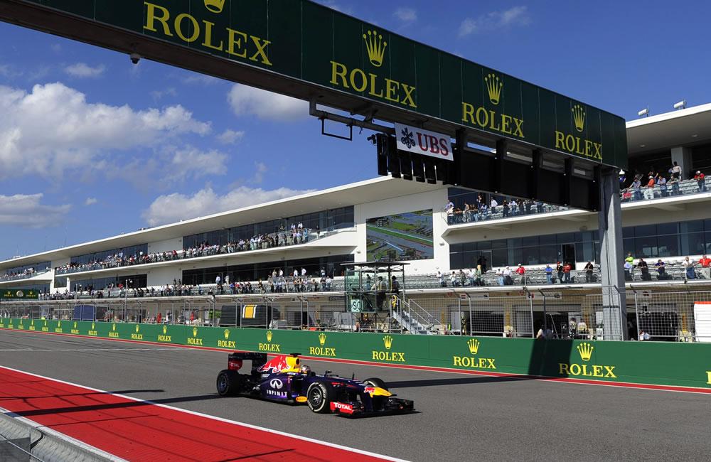 El piloto alemán Sebastián Vettel durante el Gran Premio de los Estados Unidos. EFE