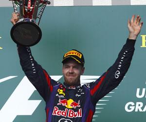 El piloto alemán Sebastián Vettel se coronó campeón del Gran Premio de los Estaods Unidos. EFE