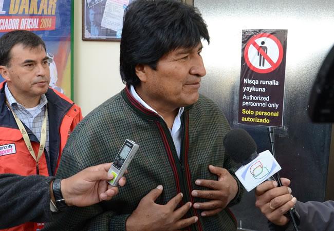 Presidente Morales llega a Uyuni. ABI