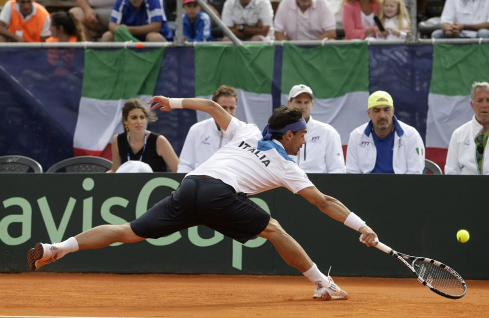 El tenista Fabio Fognini, del equipo italiano de Copa Davis. EFE