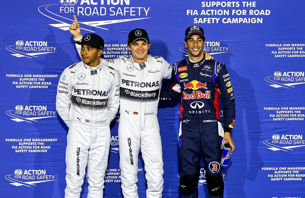El podio de la clasificación del Gran Premio de Baréin. Foto: EFE