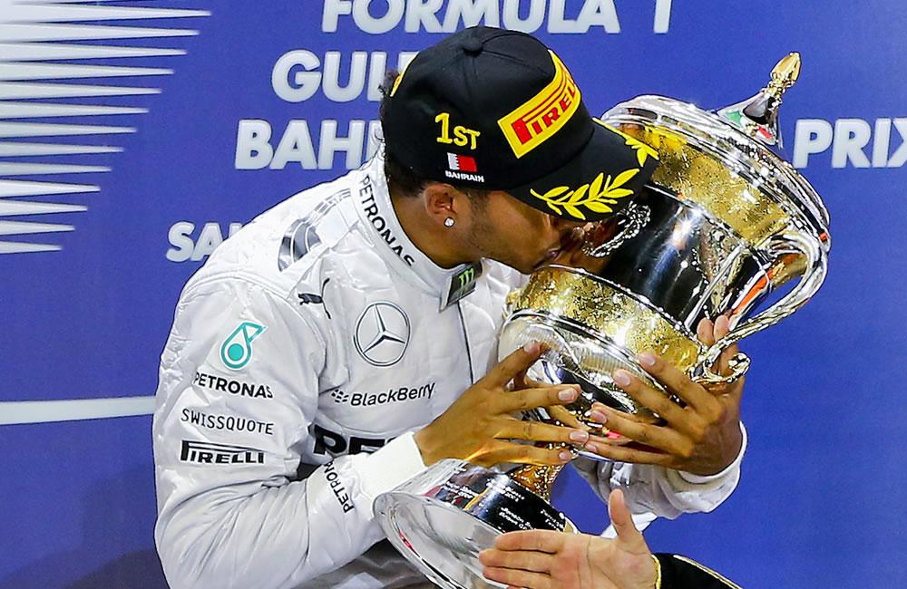El piloto británico Lewis Hamilton se coronó campeón del Gran Premio de Baréin. Foto: EFE