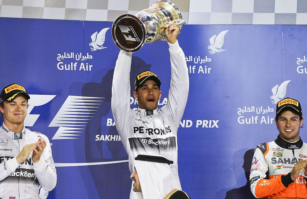 Celebración del podio del Gran Premio de Baréin. Foto: EFE