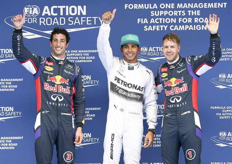 El podio de clasificación del Gran Premio de China. Foto: EFE