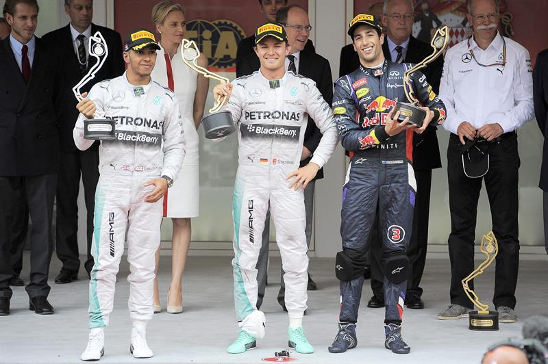 La celebración del podio del Gran Premio de Mónaco. Foto: EFE
