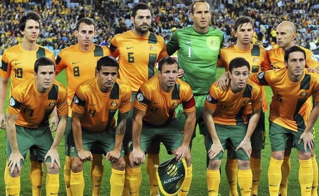 Australia, la primera selección en aterrizar en Brasil para el Mundial. Foto: EFE