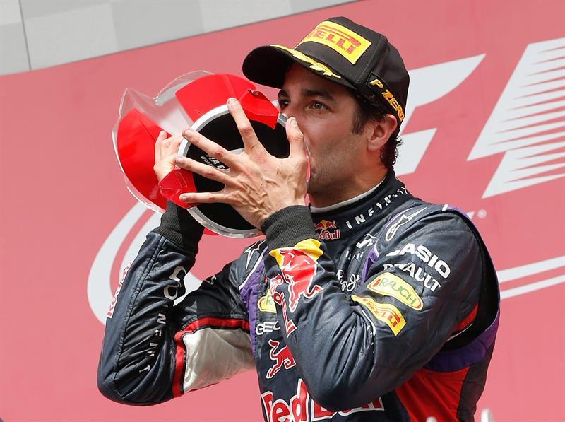 El piloto australiano Daniel Ricciardo ganador del Gran Premio de Canadá. Foto: EFE