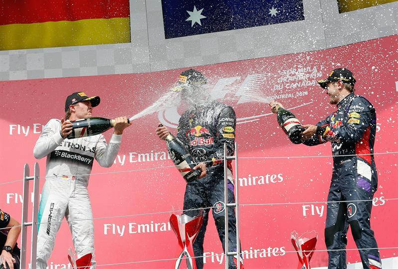 Celebración en el podio del Gran Premio de Canadá. Foto: EFE