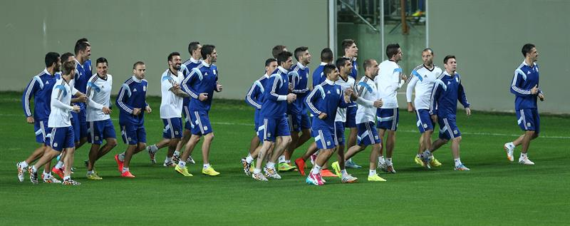 Los jugadores de Argentina participa en un entrenamiento en el estadio Arena Independencia en Belo Horizonte. EFE