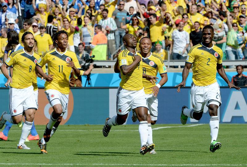 Colombia venció 3-0 a Grecia con goles de Pablo Armero (6'), Teófilo Gutiérrez (58') y James Rodríguez (91'). Foto: EFE.