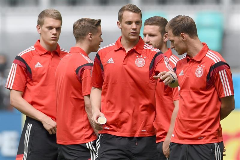 Jugadores alemanes antes del partido frente a Portugal. EFE