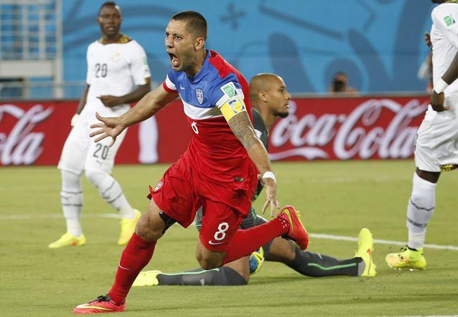 Clint Dempsey, capitán de EE.UU., hizo el gol más rápido en lo que va del Mundial. Foto: EFE.