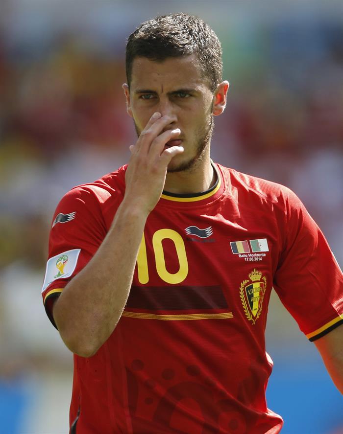 El centrocampista belga Eden Hazard durante el partido Bélgica-Argelia, del Grupo H del Mundial de Fútbol. Foto: EFE