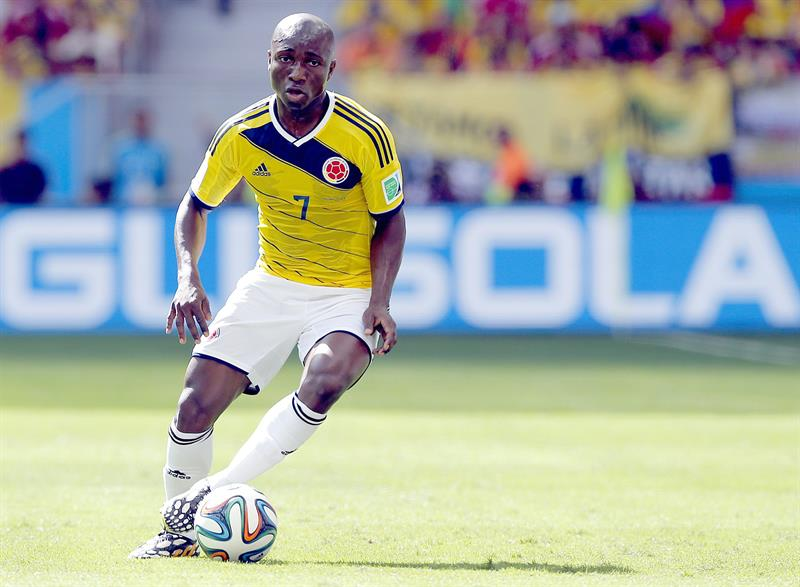 Pablo Armero of Colombia in action during the FIFA World Cup 2014 group C. EFE
