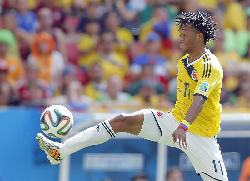 Juan Cuadrado of Colombia in action during the FIFA World Cup 2014 group C. EFE