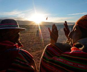 Celebración del 'Willka Kuti', año nuevo andino amazónico 5522, en Tiwanaku