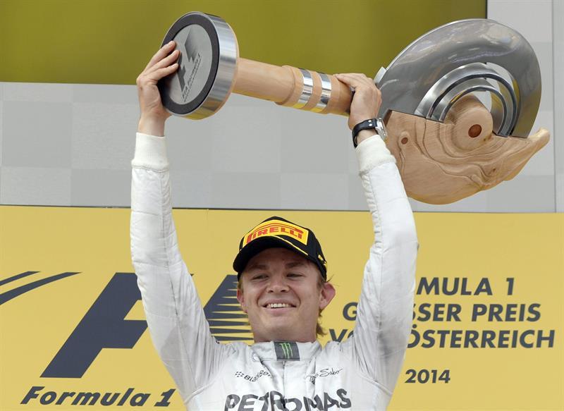 El piloto alemán Nico Rosberg se coronó campeón del Gran Premio de Austria. Foto: EFE