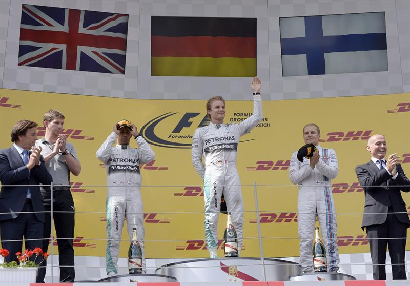 Celebración del podio del Gran Premio de Austria. Foto: EFE