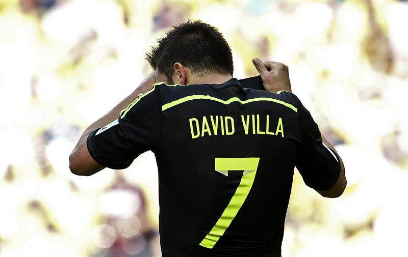El delantero español David Villa celebra el gol marcado ante la selección australiana. Foto: EFE