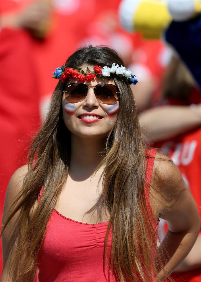 Una aficionada chilena durante el partido Holanda-Chile, del Grupo B del Mundial de Fútbol de Brasil 2014. EFE